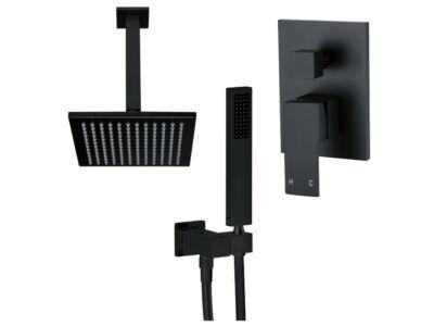 Meir schwarzes Duscharmatur-Set quadratisch - Set 5