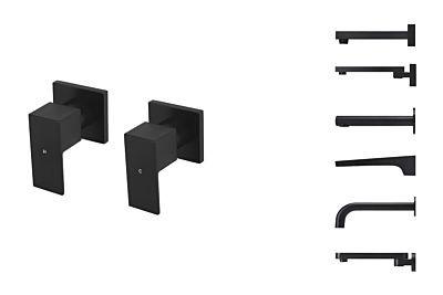 Meir schwarzes Einstellgriffe-Set quadratisch - Set 1