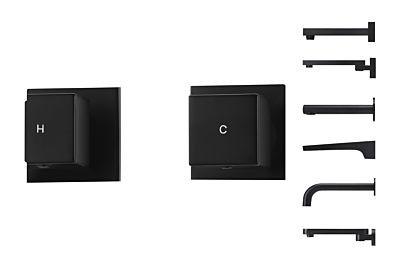 Meir schwarzes Einstellgriffe-Set Würfelform - Set 2